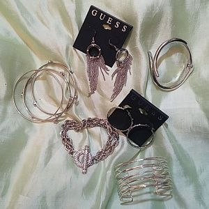 GUESS SILVER JEWELRY LOT 8 PIECES